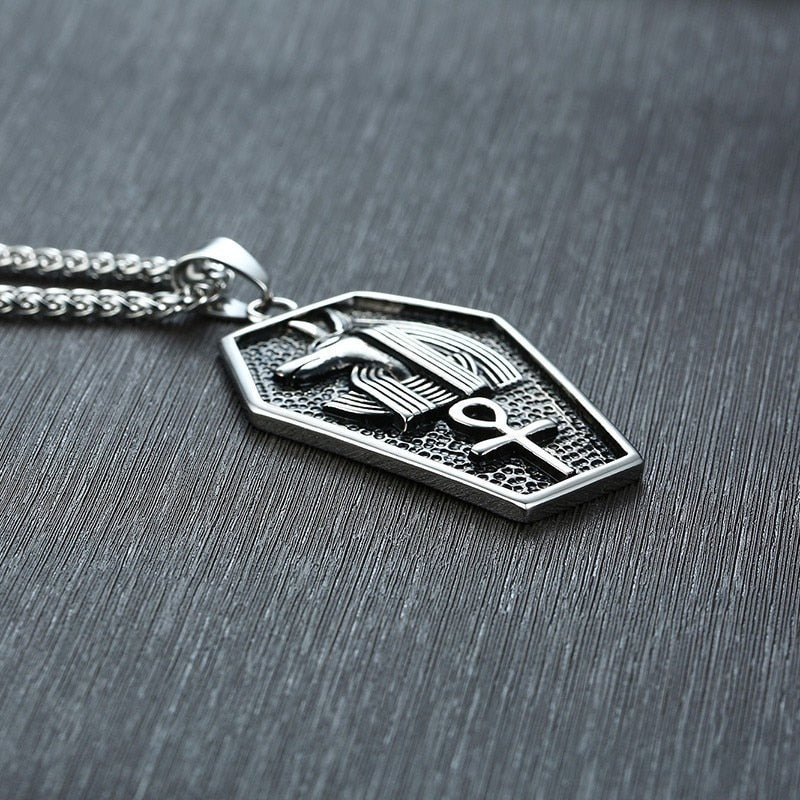 Egyptian Coffin and Anubis God Pendant Necklace