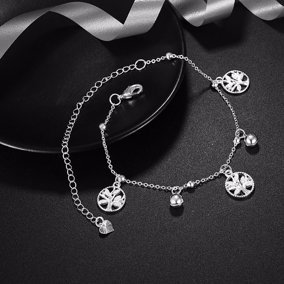 925 Sterling Silver Tree Of Life Anklet Bracelet
