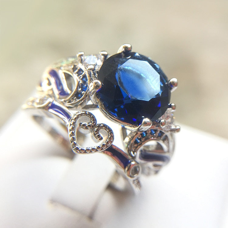 White Gold Filled Clear Austrian Crystals and Blue Cubic Zirconia Ring