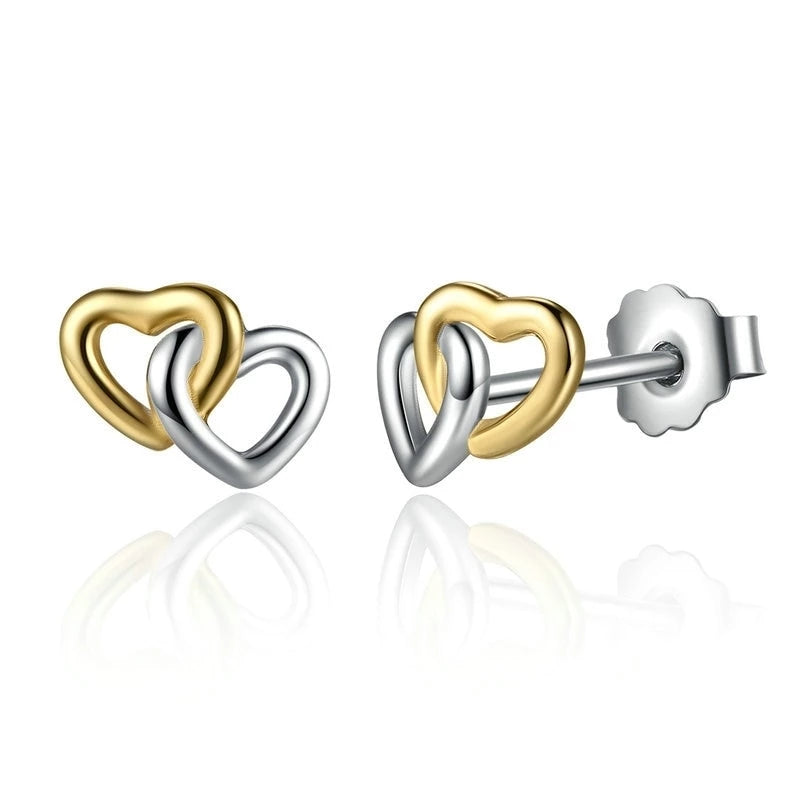 925 Sterling Silver Gold and Silver Connected Hearts Stud Earrings