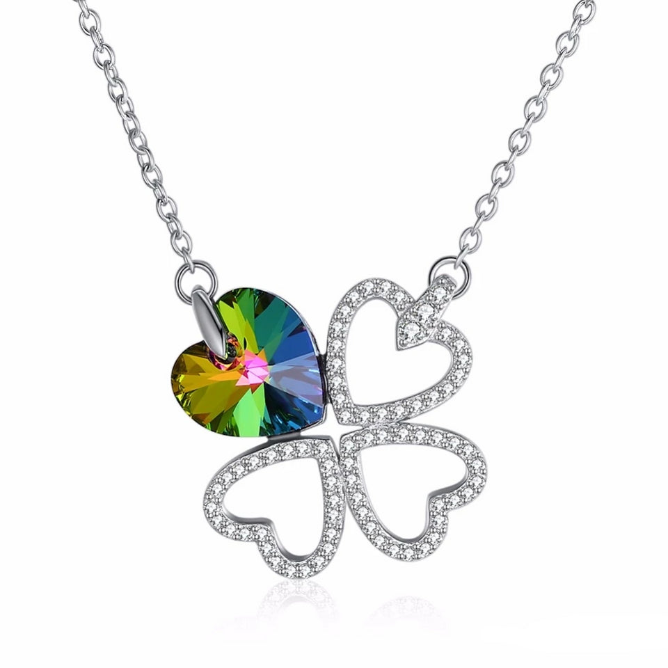 925 Sterling Silver Multicolored Four Leaf Clove Pendant Necklace