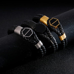 Stainless Steel Black Rope Chain Bracelet
