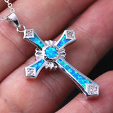 Silver with Blue Fire Opal Cross Pendant Necklace