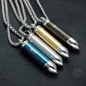 Lord's Prayer Ash Urn Memorial 3D Cross Bullet Pendant Necklace