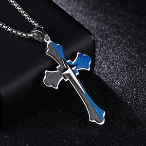 Two Tone Blue & Black Cross Pendant Necklace