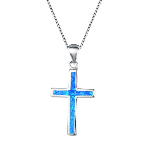925 Sterling Silver Cross with Fire Opal Pendant Necklace