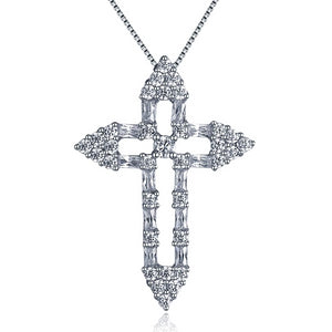 925 Sterling Silver Hollow Cross with Cubic Zirconia Pendant Necklace
