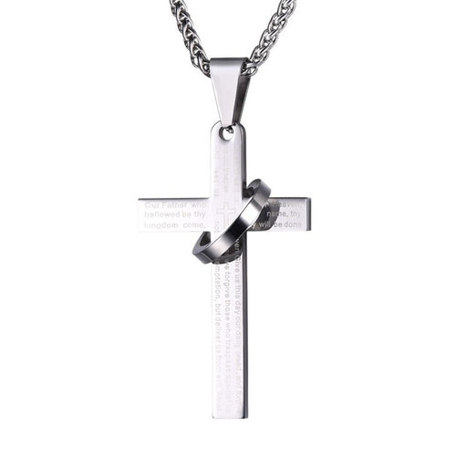 Stainless Steel Cross with Circle Lord's Prayer Pendant Necklace