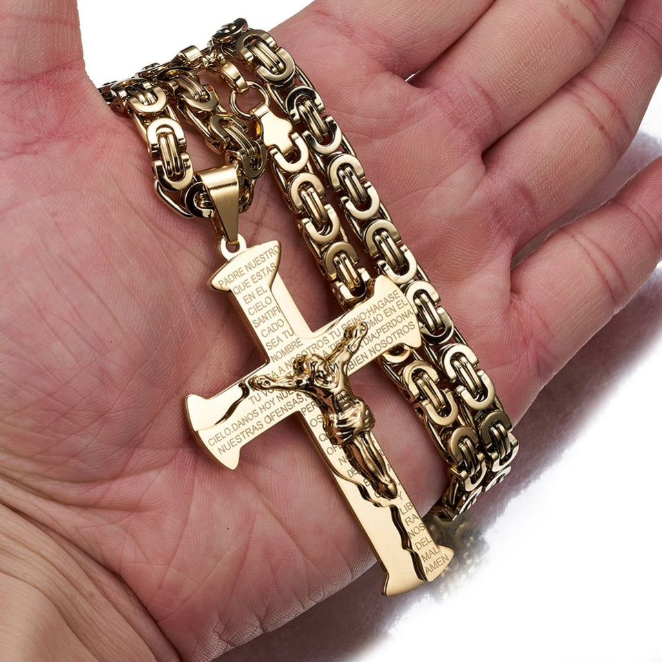 Large Chain Lord's Prayer Jesus Crucifixion Cross Pendant Necklace