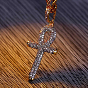 Hip Hop Gold Cross with Cubic Zirconia Pendant Necklace
