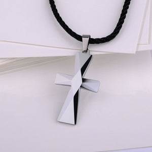 Black Tungsten Carbide Cross Pendant Necklace