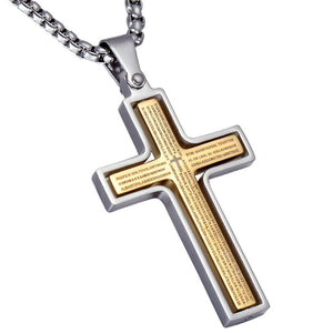 Two Tone Gold & Silver Lord's Prayer Cross Rotating Pendant Necklace