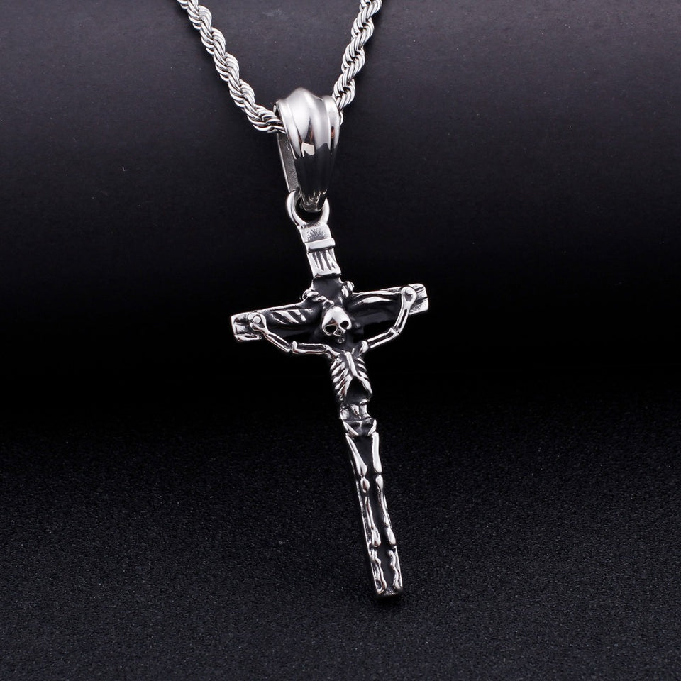 Stainless Steel Skeleton Cross Pendant Necklace