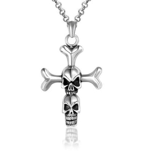 Titanium Punk Cross with Two Skulls Pendant Necklace