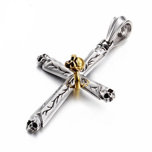 Silver Cross with Gold Skull Pendants Necklace