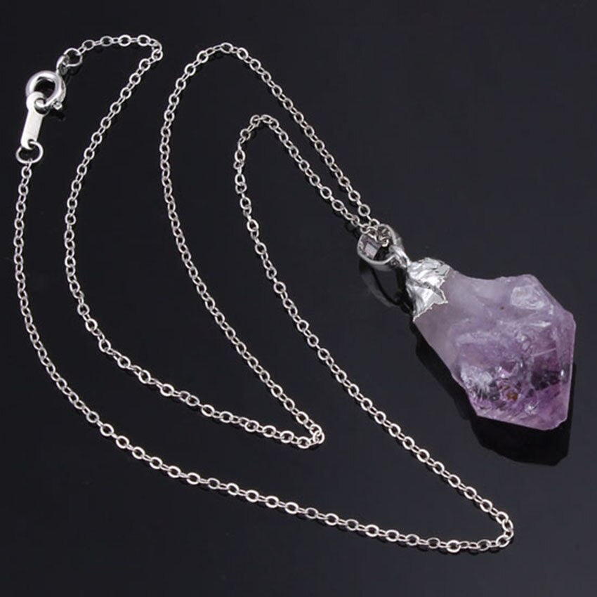 Silver Plated Natural Purple Amethysts Pendant Necklace