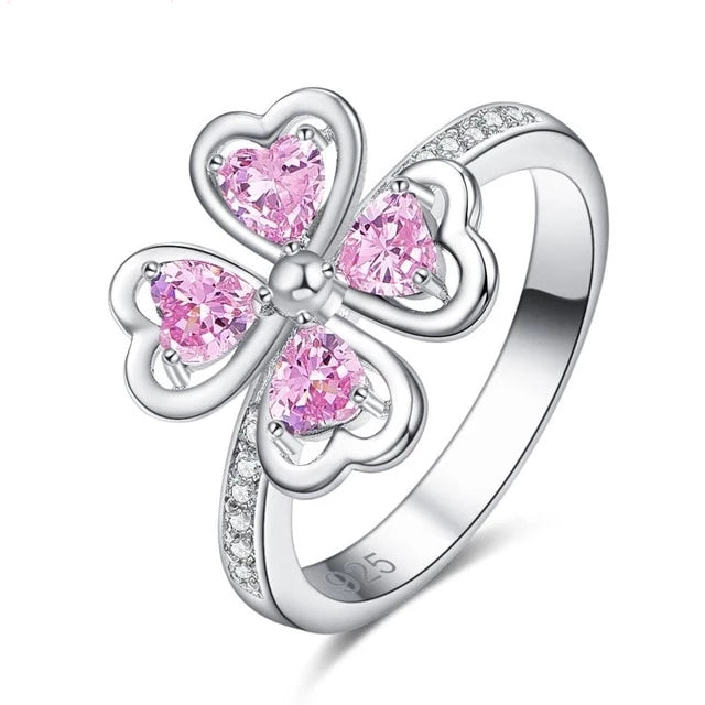 925 Sterling Silver Pink and White Cubic Zirconia Engagement Ring