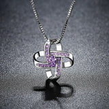 Interlocking Purple Cubic Zirconia Pendant Necklace