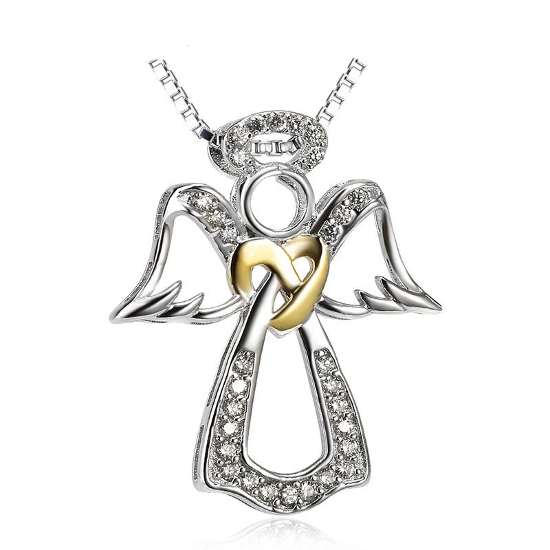925 Sterling Silver Angel with Cubic Zirconia Pendant Necklace