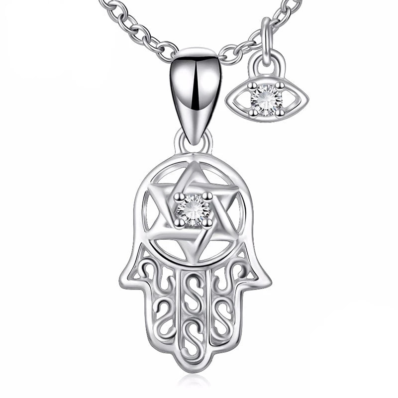 925 Sterling Silver Hamsa Hand Pendant Necklace