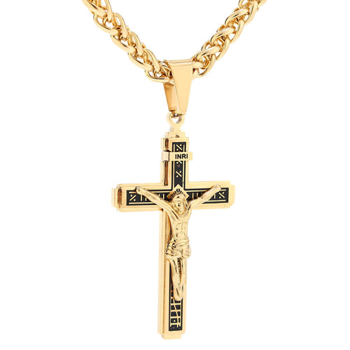 Gold Plated Stainless Steel Catholic Crucifix Pendant Necklace