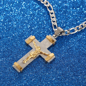 Gold and Silver Stainless Steel Jesus Christ Cross Pendant Necklace