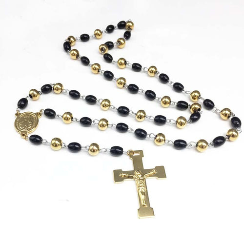 Gold and Black Christian Rosary Christian Jewelry