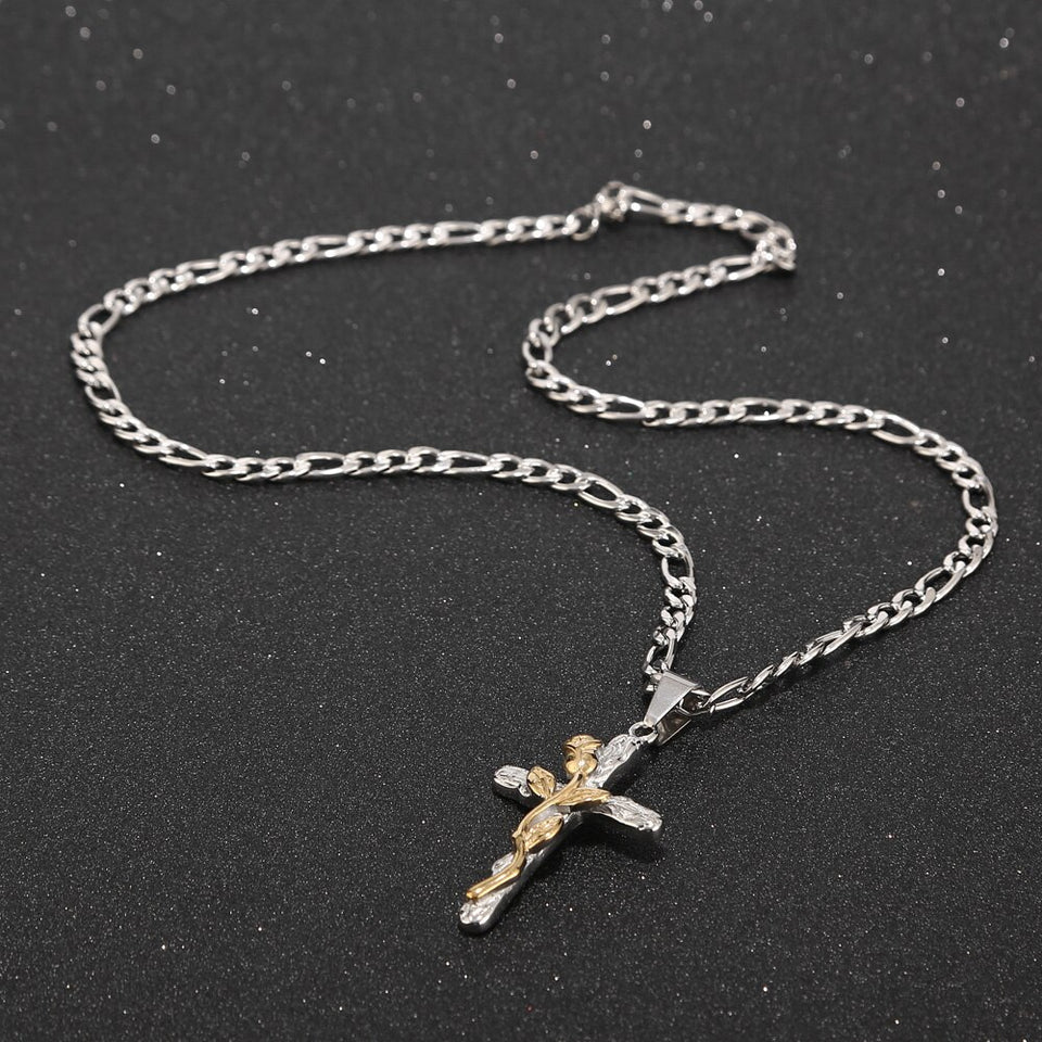 Silver Plated Cross with Rose Pendant Necklace