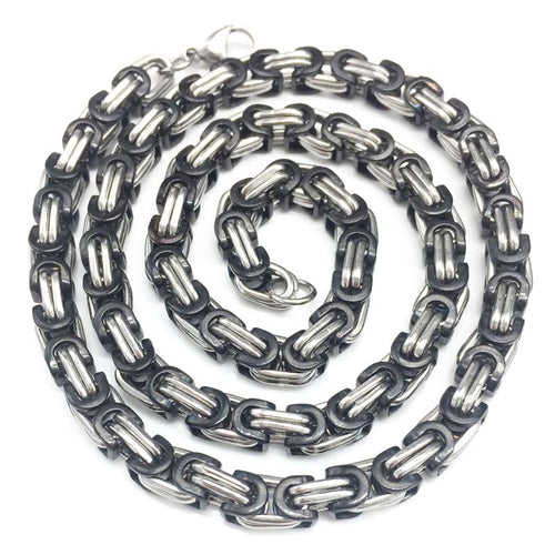 Byzantine Two Tone Black and Silver Stainless Steel Chain Link