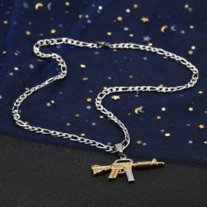 Men's Stainless Steel M416 Gun Shape Pendant Necklace