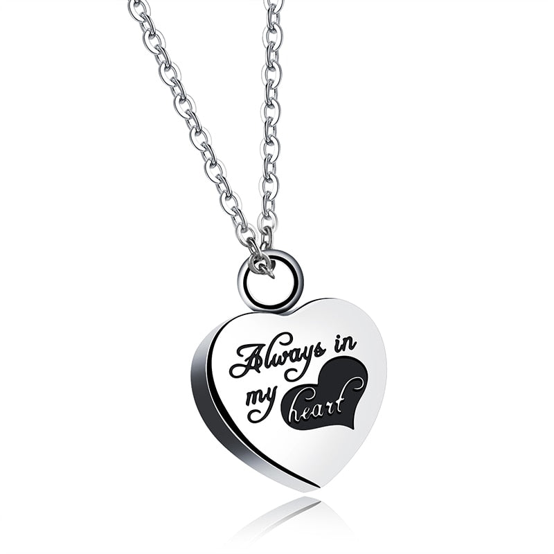 Titanium Silver Heart Cremation Pendant Memorial Necklace