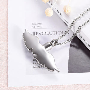 316L Stainless Steel Heart with Angel Wings Pendant Memorial Necklace