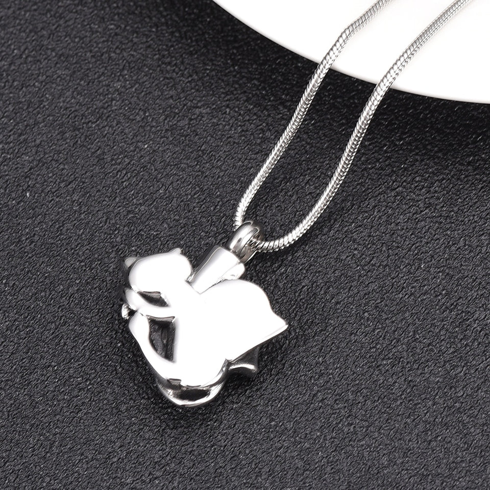 Sleeping Cat with Wings Cremation Pendant Memorial Necklace