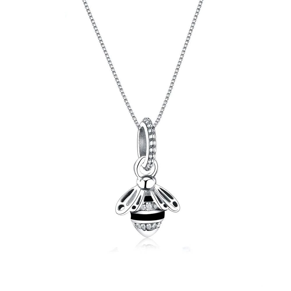 925 Sterling Silver Queen Bee with Black Enamel Pendant Necklace