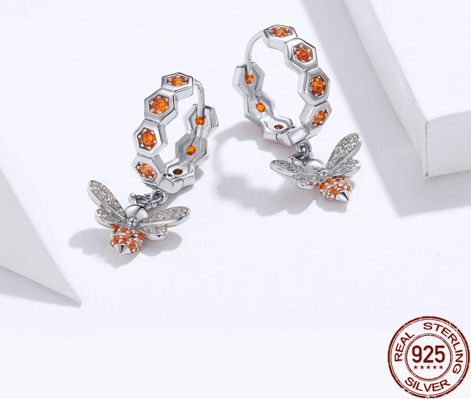 925 Sterling Silver Honeycomb Bee Stud Earrings