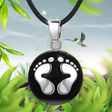 Black Pendant with Baby Feet String Necklace