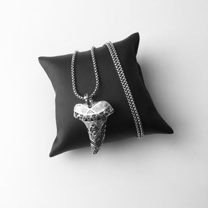 925 Sterling Silver Black Cubic Zirconia Shark Teeth Pendant Necklace
