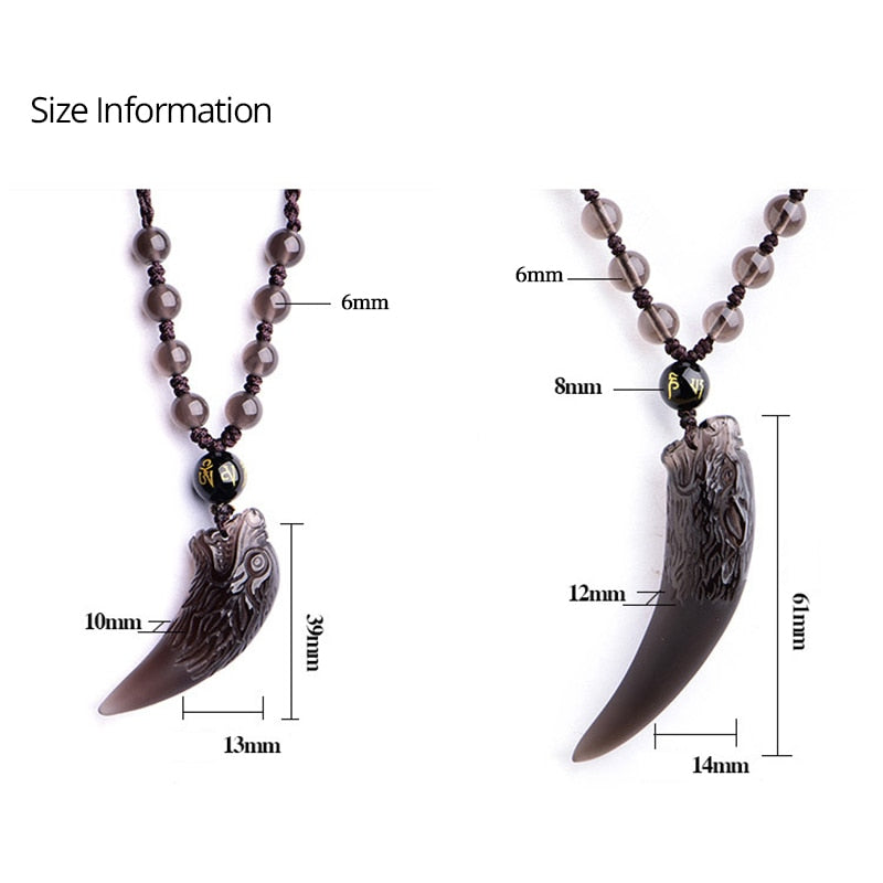 Natural Black & White Obsidian Wolf Tooth Couple Pendant Necklace