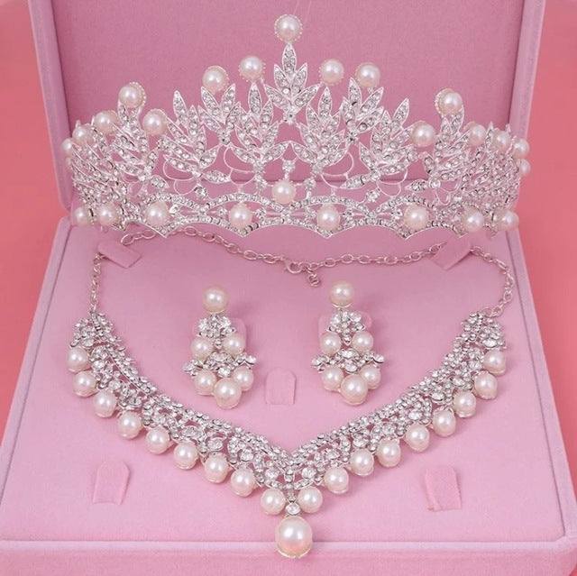 Crystal, Pearl and Rhinestone Tiara, Necklace & Earrings Jewelry Set