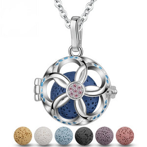 Floral Blossom Pink Cubic Zirconia Aromatherapy Pendant Necklace