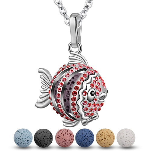 Koi Fish Red Cubic Zirconia Aromatherapy Pendant Necklace