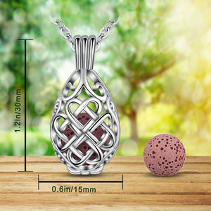 Silver Celtic Knot Water Drop Aromatherapy Pendant Necklace
