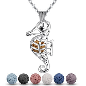 Seahorse Lava Stone Aromatherapy Cage Locket Pendant Necklace