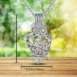 Crystal Ball and Pearl Locket Owl Pendant Necklace