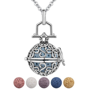 Flower Locket with Lava Stone Locket Pendant Necklace