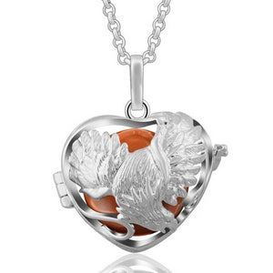 Harmony Ball Flying Eagle Heart Pendant Necklace