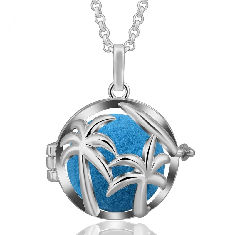 Coconut Aromatherapy Diffuser Locket Pendant Necklace
