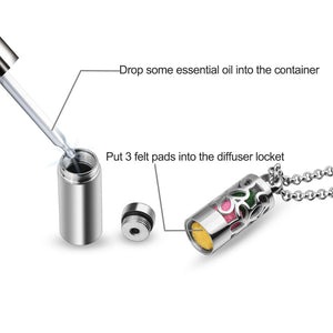 Cylindrical Aromatherapy Essential Oil Stainless Steel Pendant Jewelry