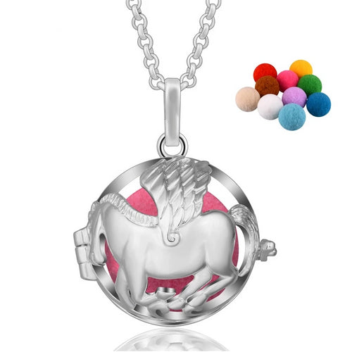 Horse Aromatherapy Diffuser Locket Pendant Necklace