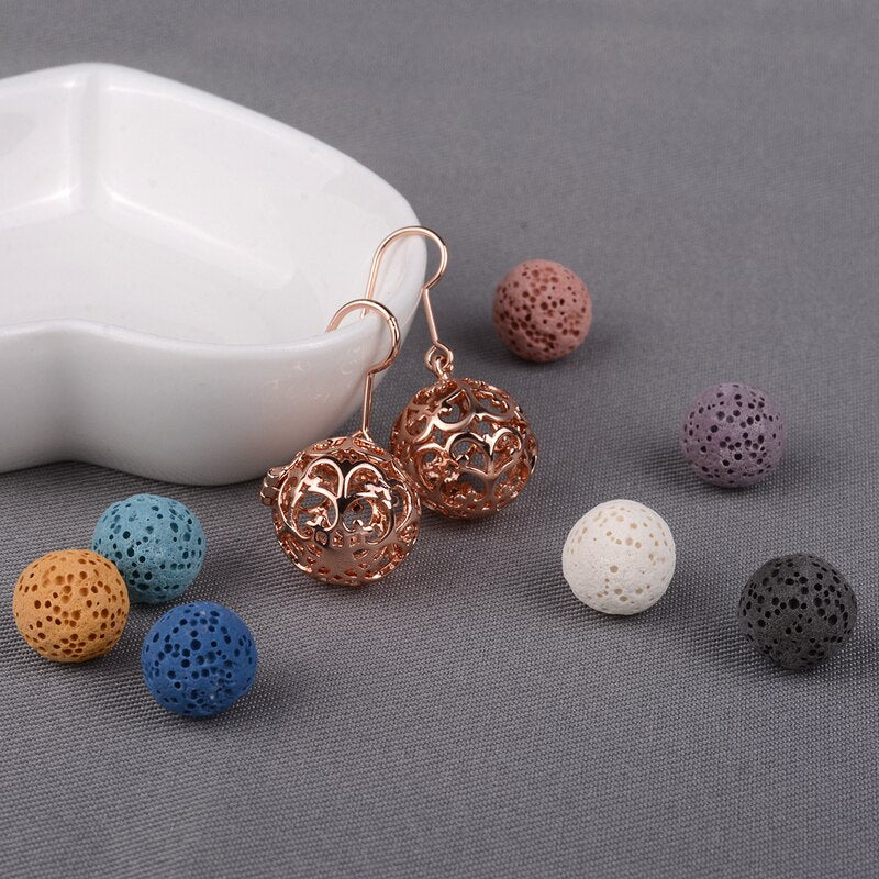 Rose Gold Flower Locket Aromatherapy Lava Stone Drop Earring